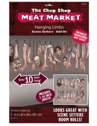 Fleischmarkt Leichenteile Halloween Wanddeko-Folie 1,7x3m