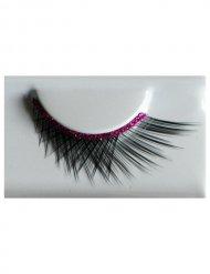 Wimpern mit Glitzer schwarz-pink
