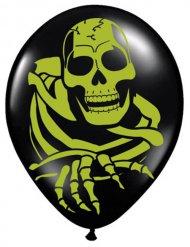 Skelett Luftballons Halloween Party-Deko 8 Stück schwarz-grün 27,5cm