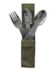 Ess-Besteck mit Tasche Camping-Zubehör silber 15x5x3cm