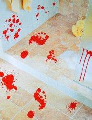 Blutige Füsse Aufkleber Halloween-Deko rot 25x70cm