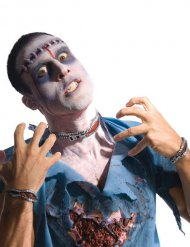 Reißverschluss Halloween-Latexapplikationen rot-grau