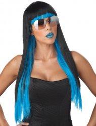 Popstar Langhaar-Perücke mit Pony schwarz-blau