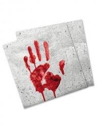 Blutige Hand Servietten Halloween-Deko 20 Stück weiss-rot 33x33cm