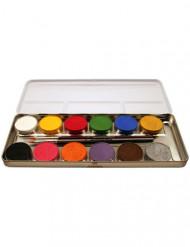 Aqua-Schminke 12 Farben Metall-Palette bunt