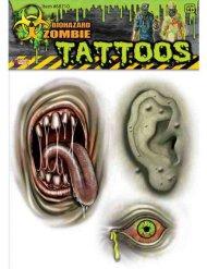 Mutanten Zombie-Tattoos Halloween grün