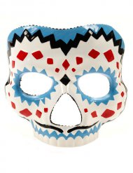 Dia de los Muertos Maske Halloween weiss-blau