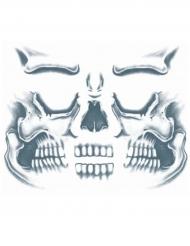 Totenkopf Klebe-Tattoo für das Gesicht grau