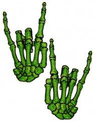 Kreepsville Gothic Aufnäher Skeletthände Rock 2 Stück grün