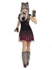 Sexy Werwolf Halloween-Damenkostüm rot-grau
