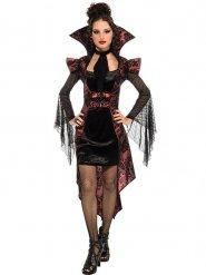Gothic Vampirin Halloween Damenkostüm rot-schwarz