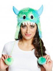 Süsses Monster Fell-Mütze grün-blau