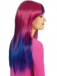 Langhaarperücke mit Pony pink-blau