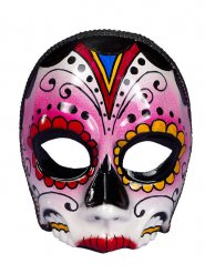 Halloween Totenkopf Ornament Maske Dame bunt verziert