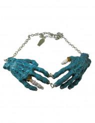 Kreepsville Gothic Halskette Zombiehände blau