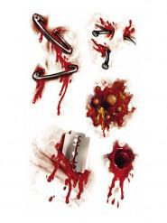 Horror Aufkleber Sticker blutige Wunden Halloween Party-Deko Set 5-teilig bunt