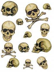 Totenkopf Halloween Sticker-Set Skulls beige 54x24x20cm