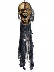 Abgetrennter Zombie-Kopf Halloween Party-Deko grau-braun 74cm