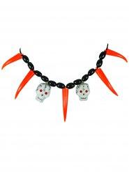 Piraten Halskette Totenköpfe orange-schwarz-weiss