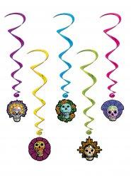 Tag der Toten Spiralen-Girlanden Halloween Party-Deko Set 5-teilig bunt 102cm
