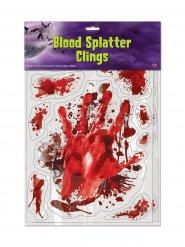 Blutspuren Halloween Sticker-Set 12 Stück rot-weiss 30x43cm