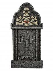 Grabstein Skelett mit Leuchtaugen Halloween-Deko 90cm grau