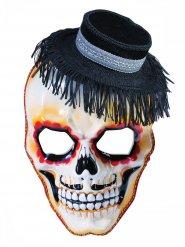 Sugar Skull Totenschädel Maske mit Hut beige-schwarz