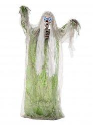 Schaurige Moorleiche mit Leuchtaugen und Sound Halloween-Dekofigur Skelett weiss-grün 150cm