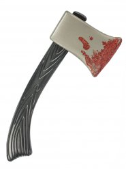 Blutige Axt Halloween-Waffe braun-silber-rot 60cm