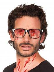 Blutige Halloween-Brille schwarz-rot