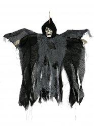 Gruseliger Sensenmann animiert mit Leuchtaugen Halloween-Hängedeko schwarz 50cm