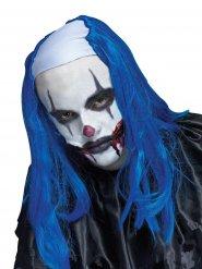 Clown-Perücke Halbglatze lang blau-weiss