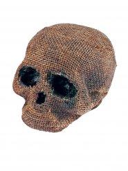 Totenschädel ohne Kiefer Halloween-Deko Leinenoptik grau-beige 11x16x18cm