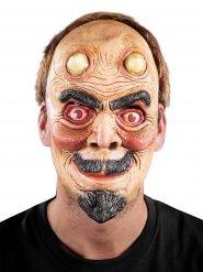 Grinsender Teufel Halloween Latex-Maske Dämon grau-beige