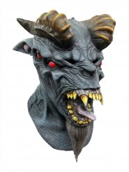 Gehörnter Dämon Halloween Latex-Maske Monster blau-braun