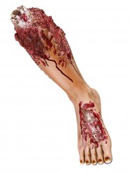 Abgehacktes Bein Halloween Party-Deko hautfarben-rot 45cm