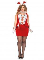 Alice-Kaninchen Damenkostüm Märchen Plus Size rot-weiss-schwarz