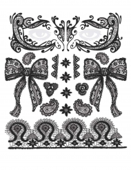 Gothic Gesichts-Tattoo-Set Spitzen-Optik 12-teilig schwarz 25,4x25,4cm