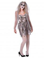 Geister-Braut Halloween-Damenkostüm grau-weiss