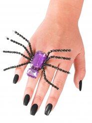 Spinnen-Ring Halloween-Schmuck lila-schwarz 13x6cm