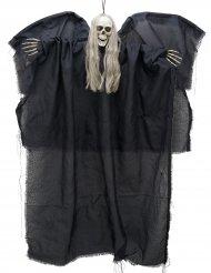 Gruseliger Skelettgeist mit Leuchtaugen Halloween-Hängedeko schwarz-weiss 110x67cm
