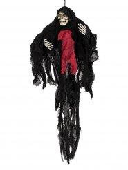 Gruseliger Sensenmann Halloween-Hängedeko Skelett schwarz-rot-beige 85x80x9cm