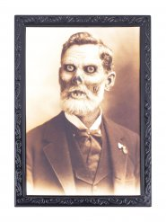 Halloween Portrait Grossvater Party-Deko grau-schwarz 36x48cm