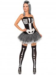 Süsse Skelettfrau Halloween Damenkostüm schwarz-weiss