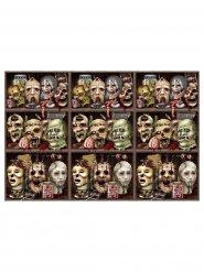 Totenschädel Wandfolie Halloween Party-Deko bunt 914x122cm