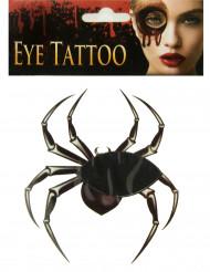 Halloween Augen-Tattoo Spinne schwarz