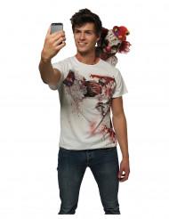 Horrorclown-Shirt Halloween-Selfie-Shirt weiss-rot