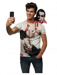 Dracula-Shirt Vampir-T-Shirt weiss-schwarz-rot