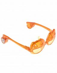 Leuchtende Kürbis-Brille mit LEDs Halloween-Partydeko orange