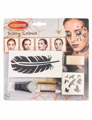 Gothic-Rabe Krähe Schmink-Set für Halloween 6-teilig schwarz